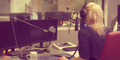 woman in recording studio