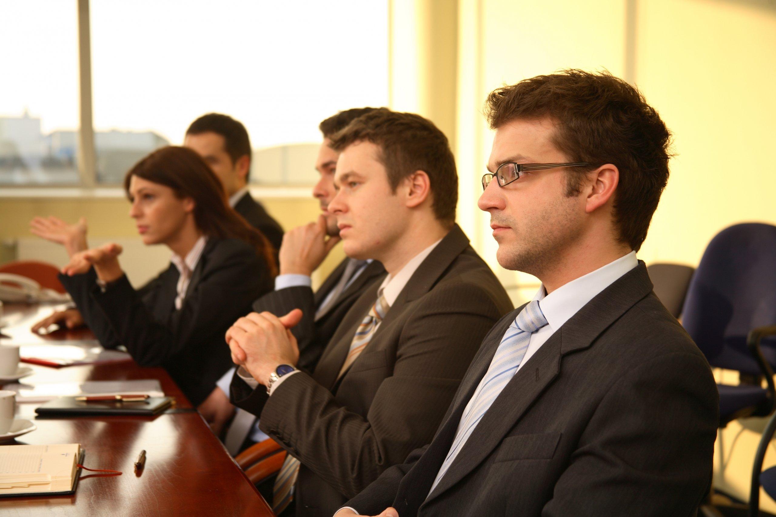 Business meeting in boardroom Panellists