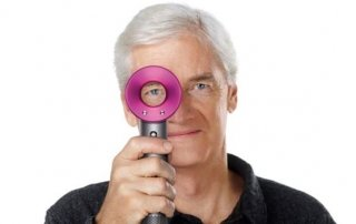 james dyson with dyson hairdryer